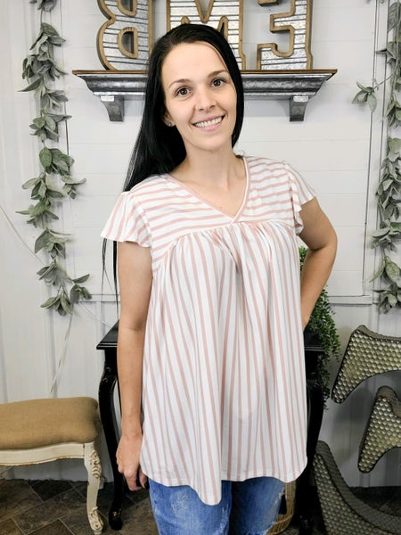 Dusty Pink & White Stripe Baby Doll Top