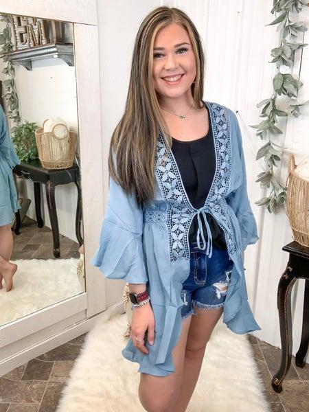 Light Blue Waterfall Lace Cardigan