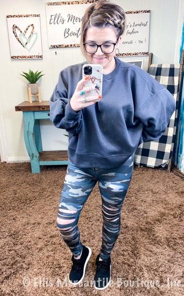 Grey Blue Camo Laser Cut Leggings