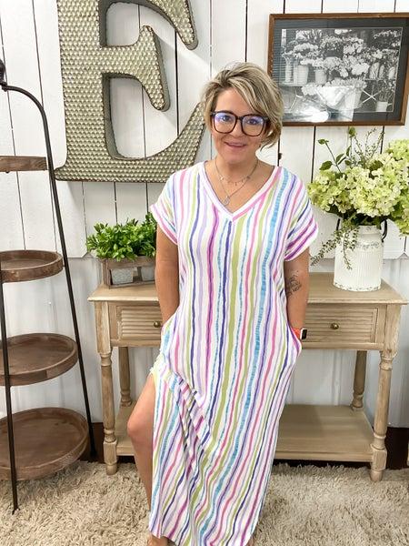 Lavender & Sage Striped Maxi Dress