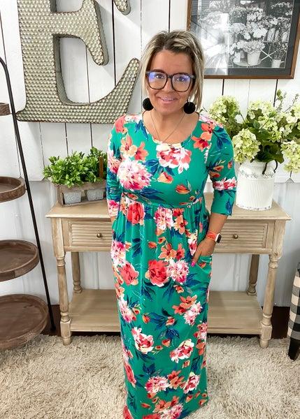 Emerald & Coral Floral Maxi Dress