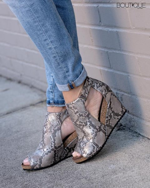 Corkys Sunburst Taupe Snakeskin Opened Toe Wedge