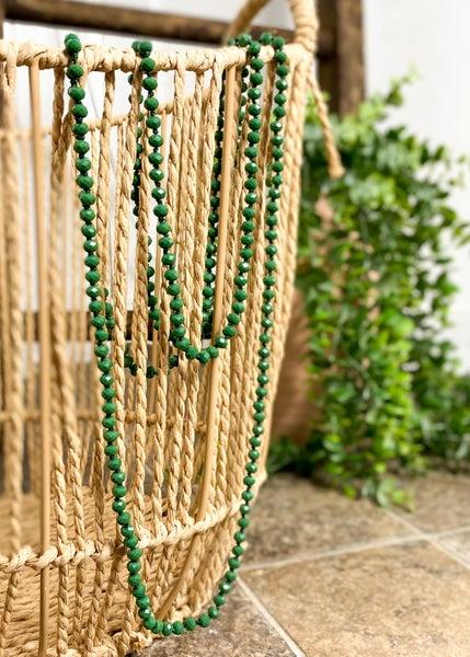 Sage Crystal Skinny Bead Necklace
