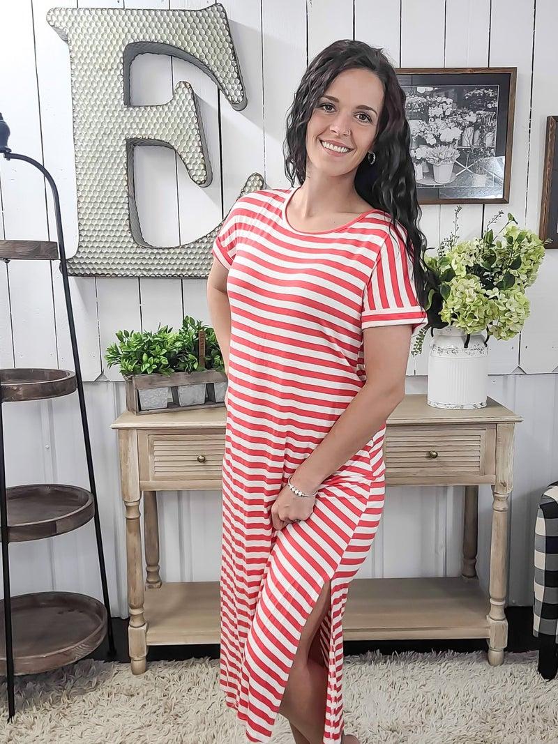 Coral Stripes Split Side Midi Dress