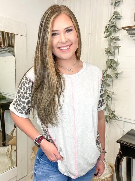 Heather Grey & Leopard Dolman Sleeve Top