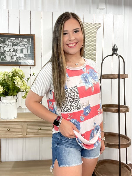 Red & Blush Striped Floral Top - ALL SALES FINAL -