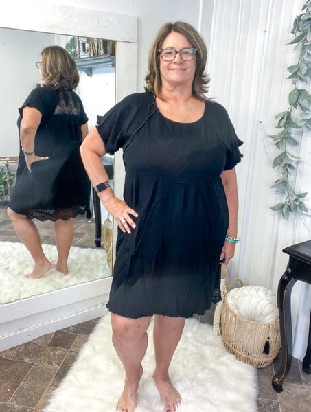 Black Floral Lace Dress (ONLINE ONLY)*