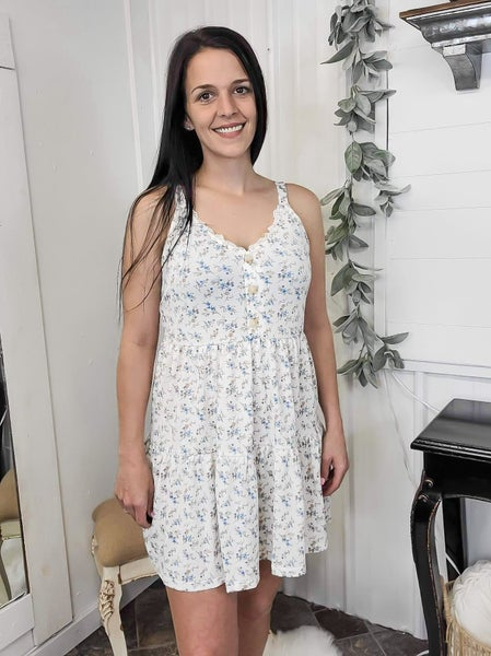 Ivory Floral Tiered Dress (ONLINE ONLY)*