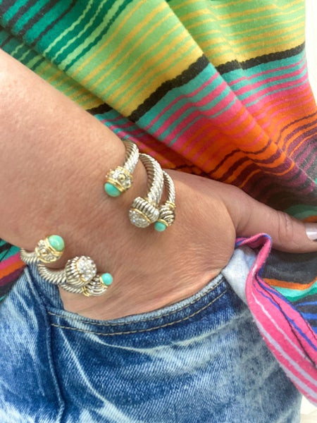 Thin Turquoise Stackable Cable Bracelet (ONLINE ONLY)*