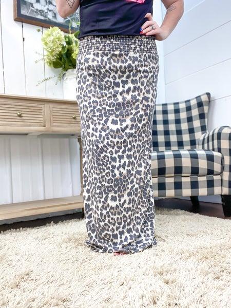 Taupe Leopard Print Smocked Waist Skirt