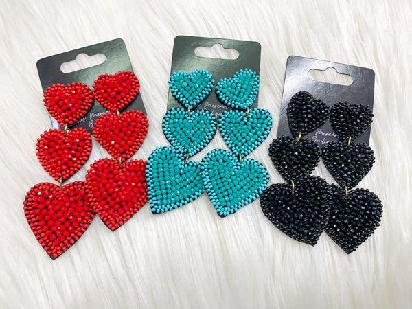 Crystal Bead Heart Dangle Earrings