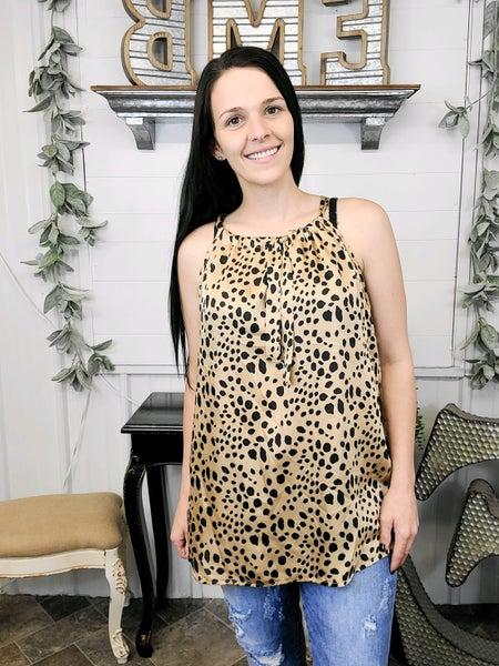 Taupe Leopard Print Halter Top
