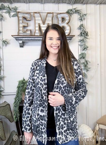 Grey Leopard Print Blazer {ONLINE ONLY}*