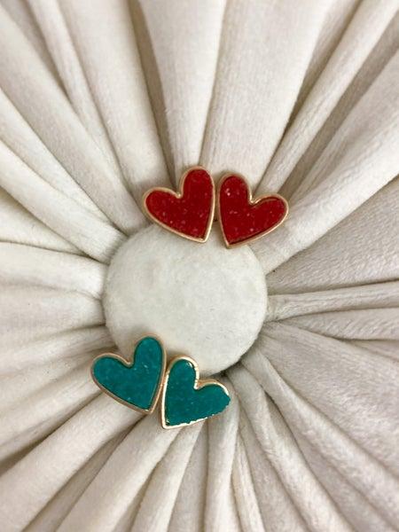Druzy Heart Earrings*