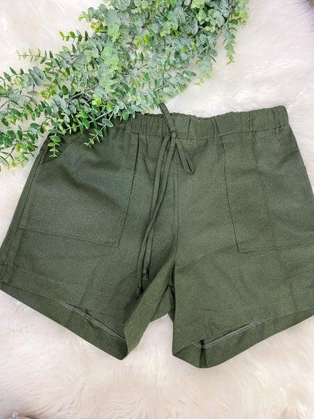 Olive Linen Patch Pocket Shorts