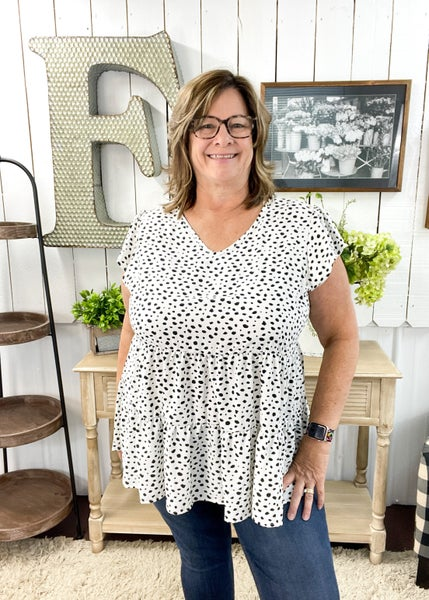 White & Black Spot Tiered Top