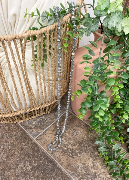 """Silver 36"""" Crystal Bead Necklace"""