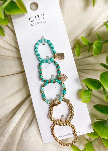Heart Bead Elastic Ring Set