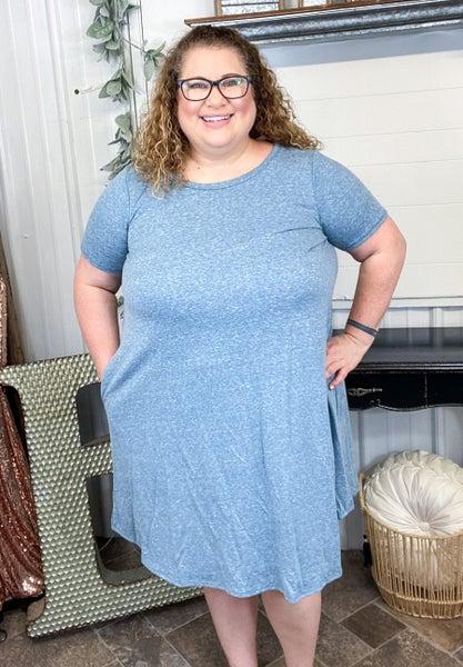 Teal Blue Keyhole Back Dress