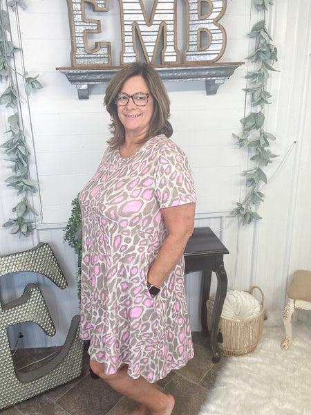 Taupe & Fuchsia Leopard Print Dress