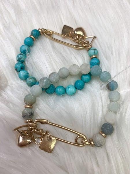 Double Heart Charm Stone Bracelet