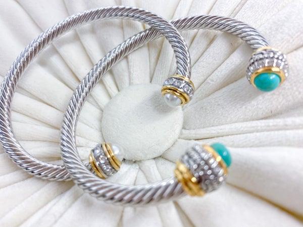 Rhinestone & Stone End Cable Bracelet