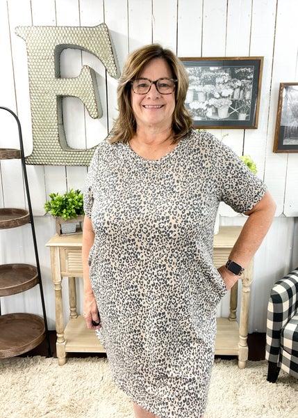 Taupe & Charcoal Animal Print Dress