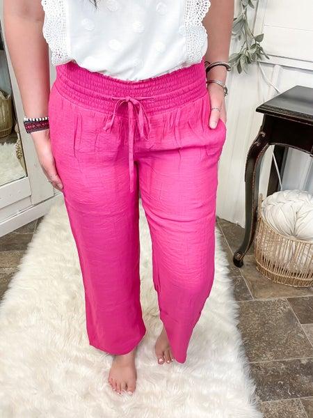 Hot Pink Smocked Palazzo Pants