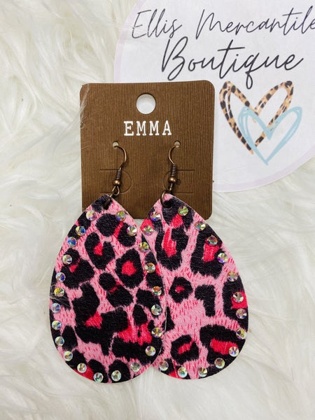 Pink Leopard Print Teardrop Earrings