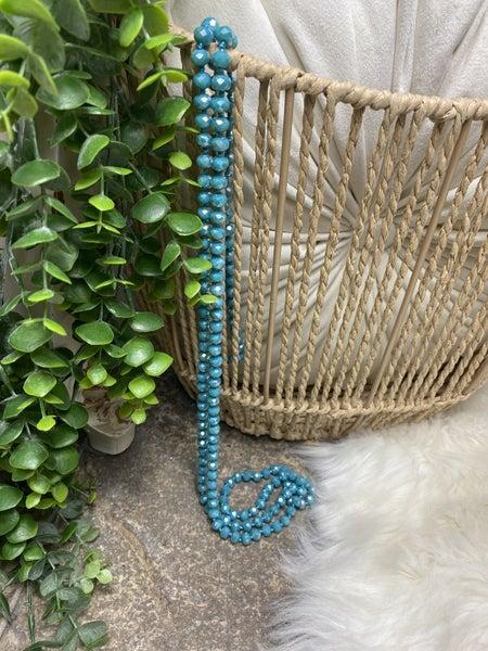 Marine Blue Crystal Bead Necklace