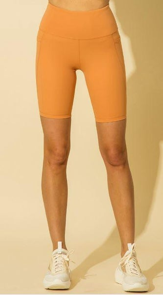 Orange Sherbet High Waist Side Pocket Shorts*