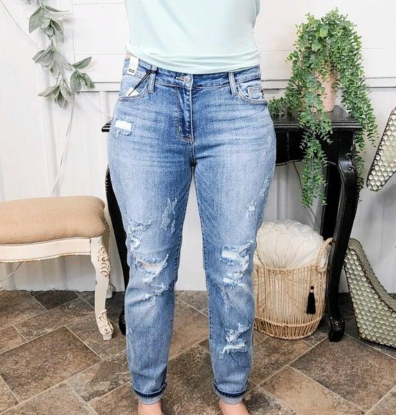 Judy Blue Mid Rise Boyfriend Jeans - JB82193MD (ONLINE ONLY)*