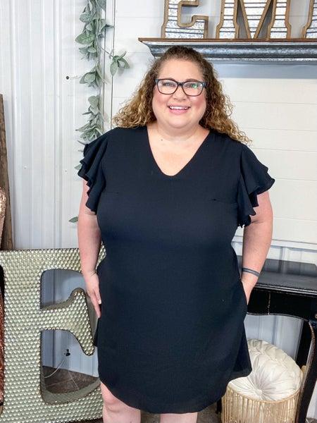 Black Double Ruffle Sleeve Dress