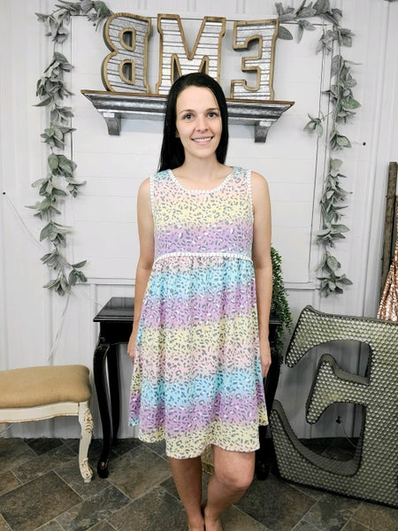 Pastel Leopard Crochet Trim Dress