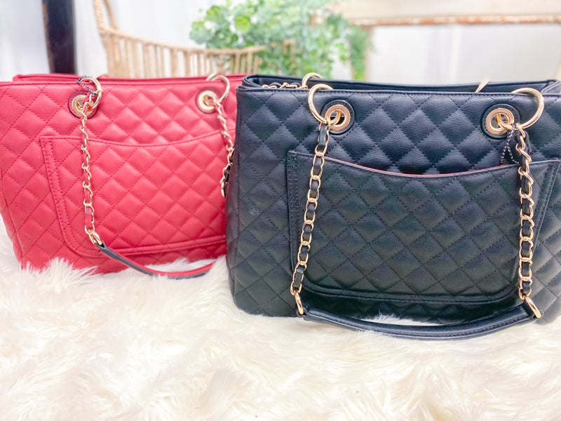 Quilted Stitched Tote & Wallet
