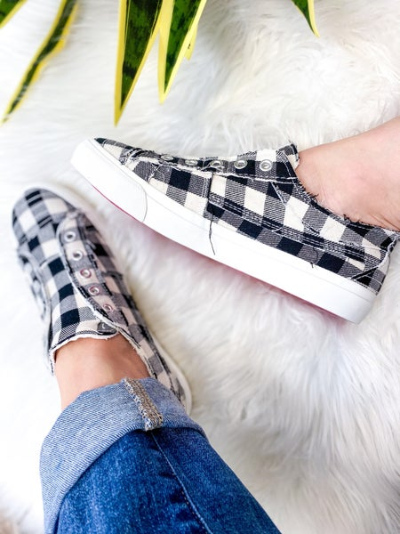Corkys Babalu White Plaid Sneaker