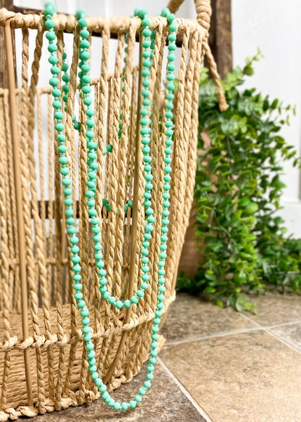 Mint Crystal Skinny Bead Necklace