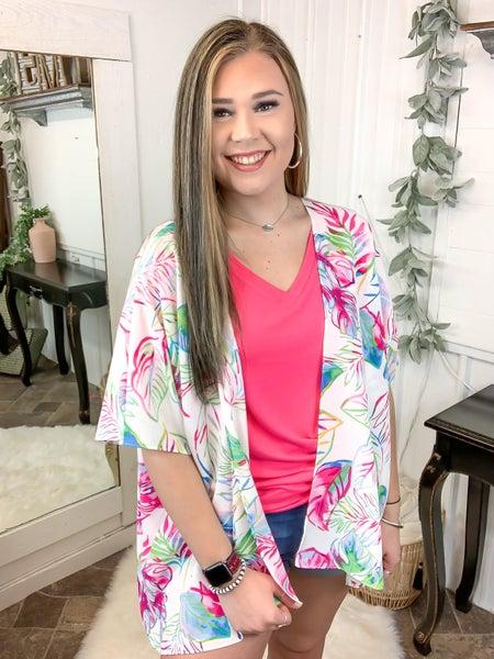 Fuchsia & Green Floral Kimono