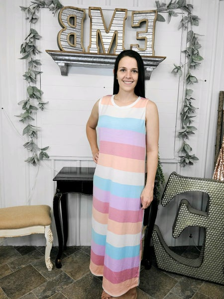 Pastel Striped Midi Dress (ONLINE ONLY)*
