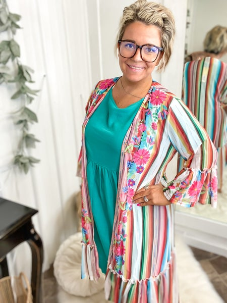 Serape & Floral Bell Sleeve Duster (ONLINE ONLY)*