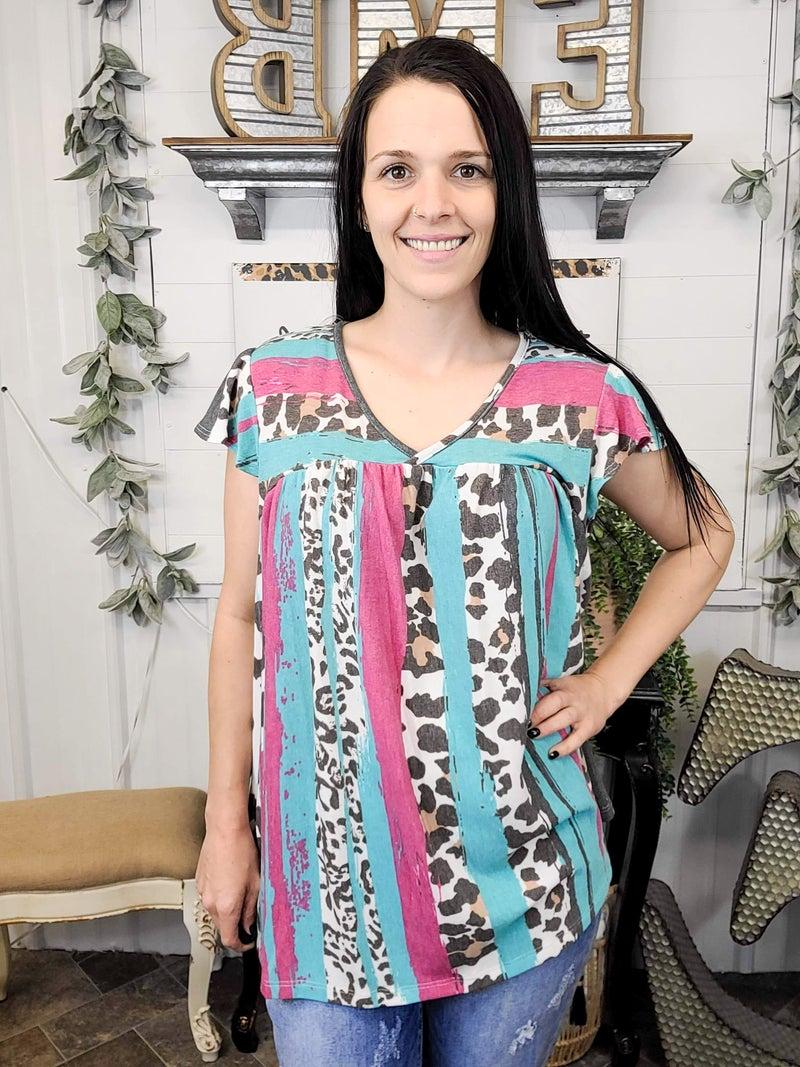 Turquoise Leopard and Cow Print Baby Doll Top