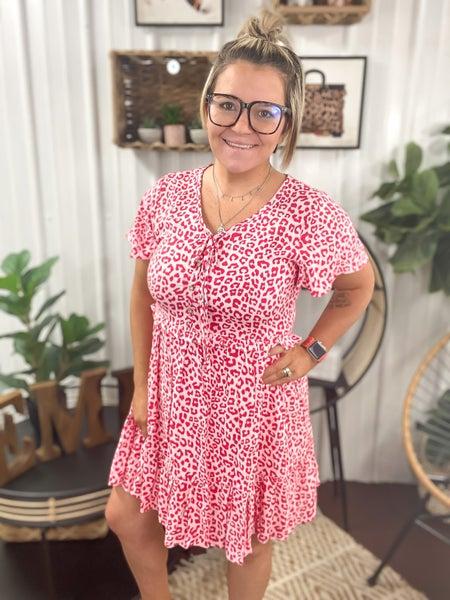 Cherry Leopard Baby Doll Dress