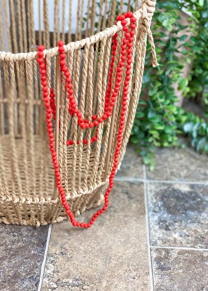 Matte Orange Crystal Skinny Bead Necklace