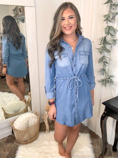 Light Blue Chambray Shirt Dress