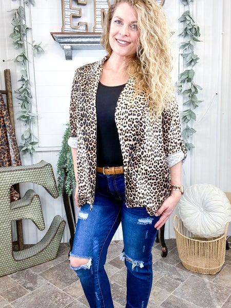 Leopard Print Rolled Tab Blazer