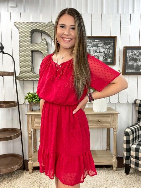 Red Chiffon Swiss Dot Dress