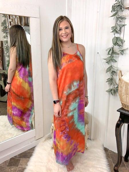 Orange & Purple Mix Tie Dye Maxi Dress (ONLINE ONLY)*