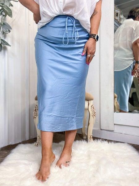 Smoke Blue Midi Skirt