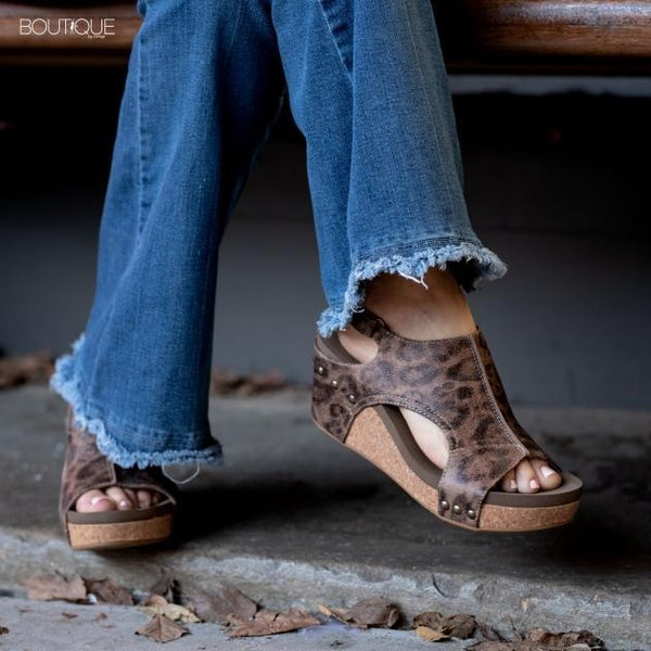 Corkys Carley- Distressed Leopard Wedge