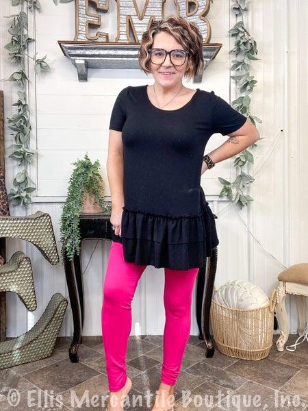 Hot Pink Microfiber Full Length Leggings